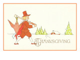 Thanksgiving, Pilgrim with Dead Turkey on Musketq Poster