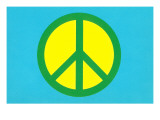 Yellow Green and Blue Peace Sign Posters