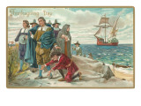 Thanksgiving Day, Landing at Plymouth Rock, Poster - Mayflower, pilgrims