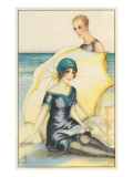 Couple on Beach in Swimming Costumes Posters