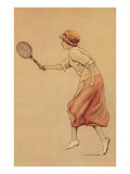 Woman Playing Tennis Art