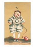 Baby Clown with Balloon on String Print