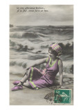 French Woman Lounging on Beach Print