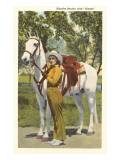 Cowgirl with White Horse Art