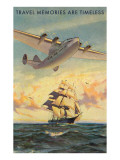 Travel Memories are Timeless, Airplane and Sailing Ship Poster