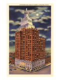 Moon over Esperson Building, Houston, Texas Posters