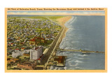 Aerial View of Galveston, Texas Posters