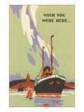 Wish You Were Here, Art Deco Ocean Liner Photo