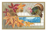 Thanksgiving Greetings, Turkey with Leaves Prints