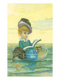 Victorian Girl in Bowl with Dog and Cat Posters