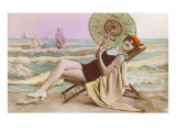 Woman in Beach Chair with Parasol Prints