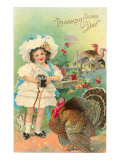 Girl with Camera, Cat and Turkey Poster