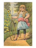 Victorian Girl with Penny Farthing Bicycle Poster