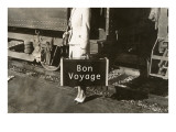 Forties Lady Standing by Train, Bon Voyage Posters