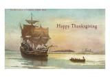 Mayflower and Rowboat Art