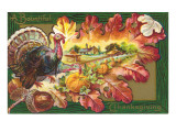 A Bountiful Thanksgiving, Turkey on Oak Leaf Print