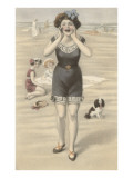 Victorian Woman Shouting on Beach Poster