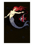 Topless Mermaid with Angel Fish Prints