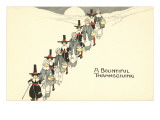 A Bountiful Thanksgiving, Pilgrims in Snow Posters