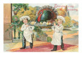 Young Chefs Carrying Turkey on Platter Posters