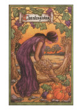 Persephone Harvesting Wheat and Grapes Prints