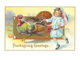 Greetings, Girl with Turkey Prints