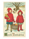 Children Carrying Basket of Food Print