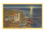 Moon over Galveston, Texas Posters