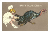 Happy Thanksgiving, Little Chef with Turkey Poster