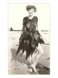 Woman Bedecked with Seaweed Print