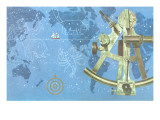 Map of World, Sextant, Constellations Art