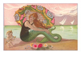 Mermaid with Parasol and Cupid Art