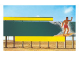 Surfer on Blank Billboard Print