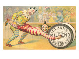 Victorian Clowns Using Spool as Wheel Barrow Art