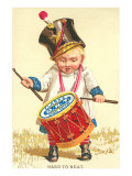 Little Boy Drumming Spool of Thread Posters