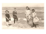 Kids Digging on Beach Prints