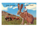 Cattle Punching on a Giant Jack Rabbit Posters