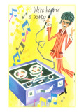 We're Having a Party, Mod with Tape Deck Cartoon Posters