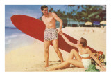 Couple Going Surfing Posters