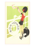 Bon Voyage, Flapper Waving from Railing Poster