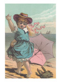 Victorian Girl Alarmed by Crab Posters