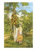 Senorita with Papaya Tree, Southern Texas Posters