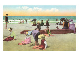 Happy Youngsters on the Beach Poster