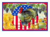 Greetings, Patriotic Turkey Poster