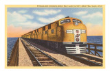 Streamlined Train Crossing Great Salt Lake, Utah Print