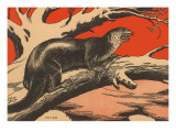Woodcut of Otter Prints