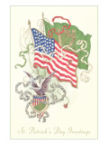 American and Irish Flags, St. Patrick&#39;s Day Prints