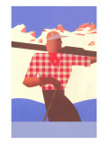 Abstract Skier in Checked Shirt Art