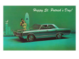 Happy St. Patrick's Day, Surfer Couple with Green Car Posters