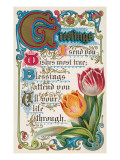 Vintage Greetings with Tulips Poster
